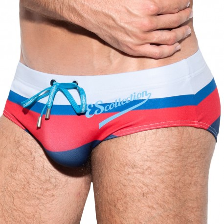 ES Collection Slip de Bain 60s Bleu - Blanc - Rouge