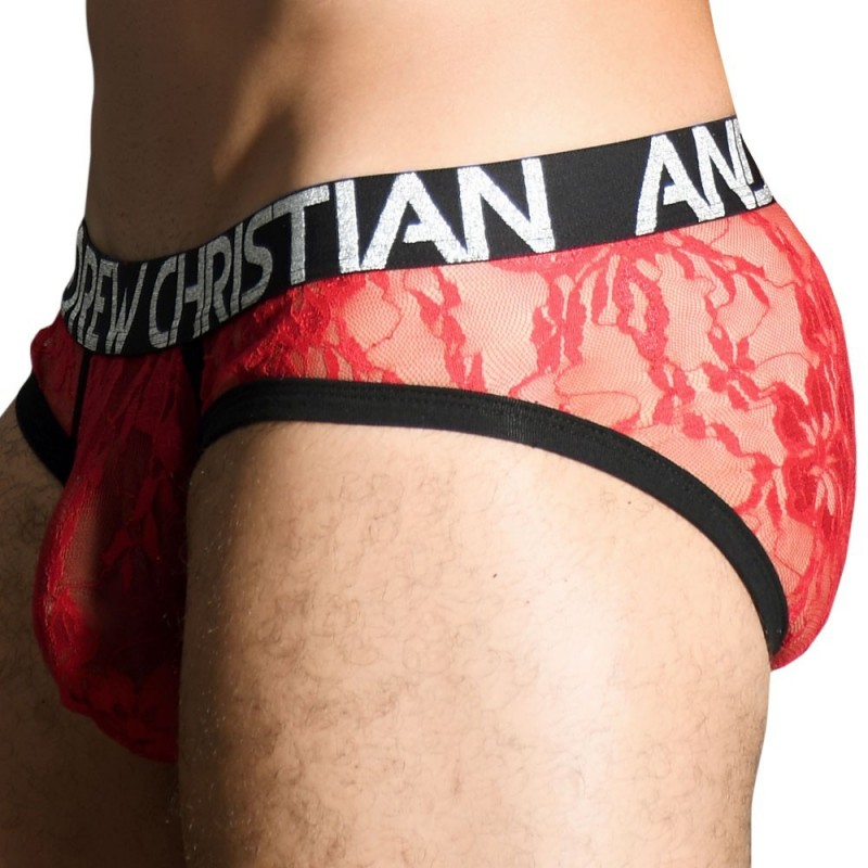 Andrew Christian Slip Almost Naked Lace Rouge