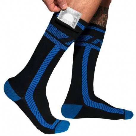 AD Fetish Pockets Fetish Long Socks - Black - Royal