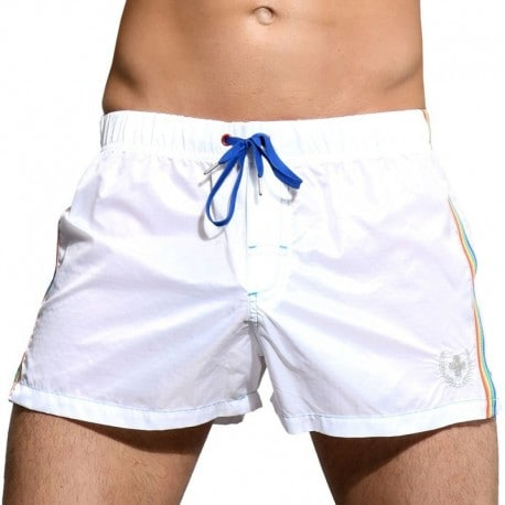 Andrew Christian Athletic Pride Swim Short - White