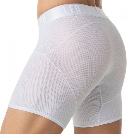 LEO Boxer Long Superior Fit Blanc