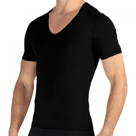 Rounderbum Lot de 2 T-Shirts Deep V-Neck Noirs