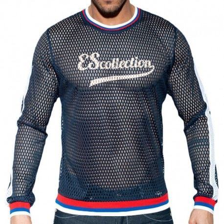 ES Collection Open Mesh T-Shirt - Navy