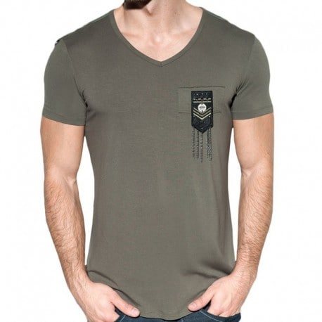 ES Collection T-Shirt Chains Shield Kaki