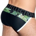 ES Collection Slip Tanga Combi Leaves Noir