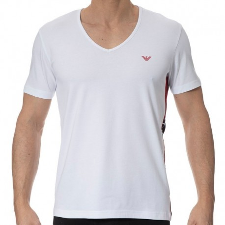 Emporio Armani T-Shirt Color Block Blanc