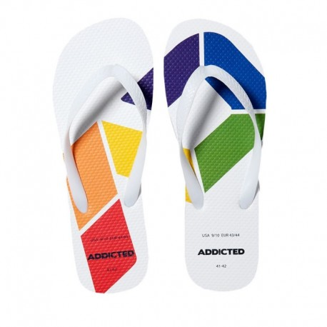Addicted AD Rainbow Flip Flops - White