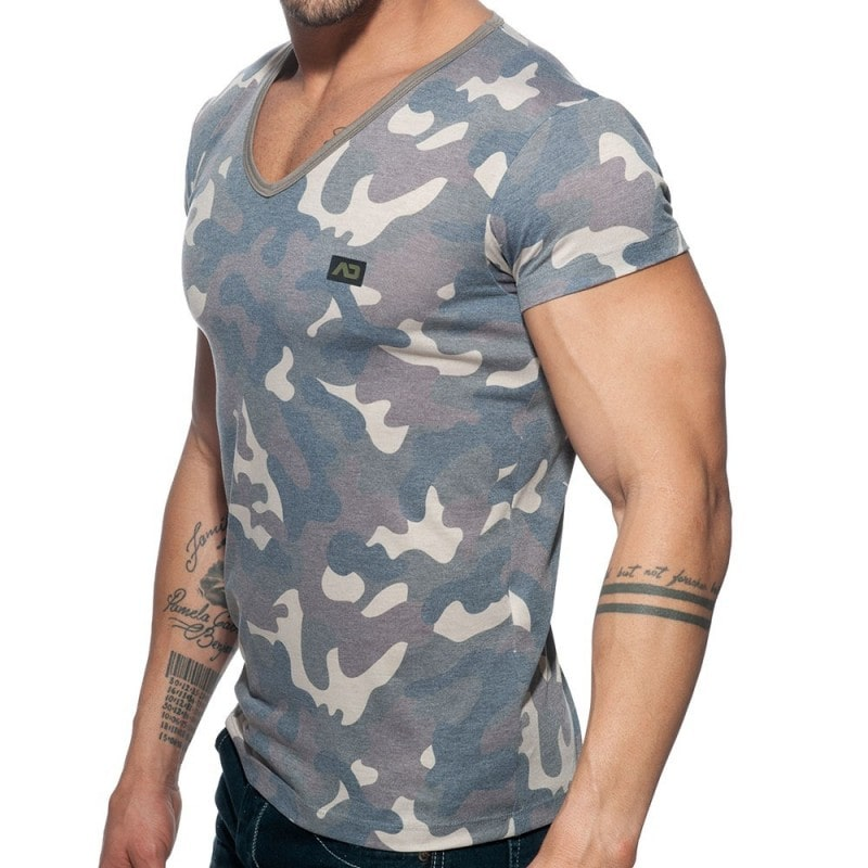 Addicted T-Shirt Washed Camo Kaki