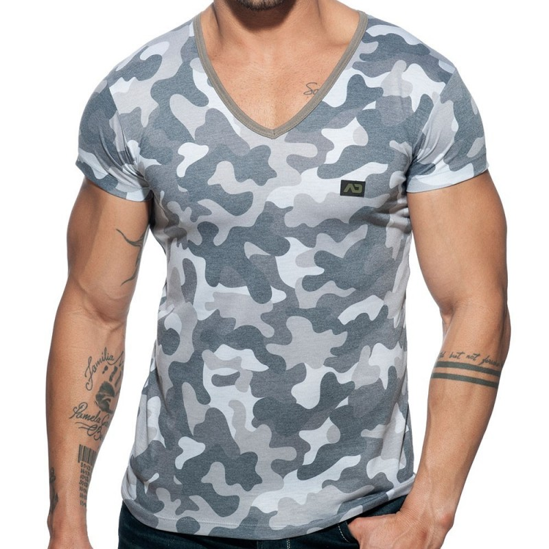 Addicted T-Shirt Washed Camo Gris