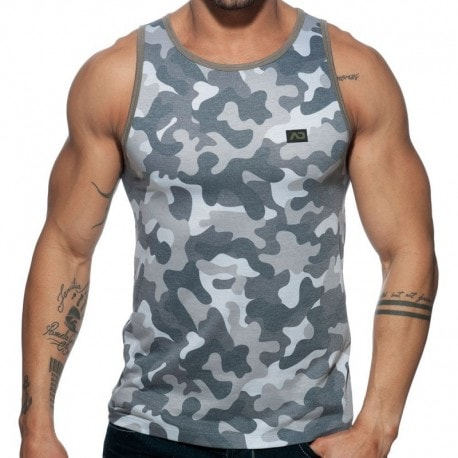 Addicted Washed Camo Tank Top - Grey