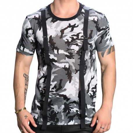 Andrew Christian T-Shirt Strap Camouflage Gris