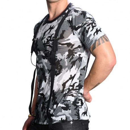 Andrew Christian Strap Camo T-Shirt - Grey
