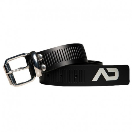AD Fetish Leather Belt - Black - Silver
