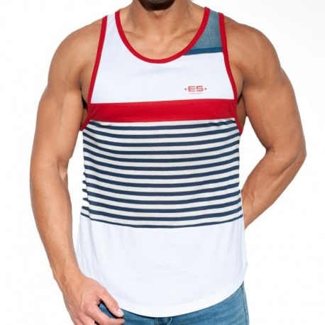 ES Collection Sailor Jeans Tank Top - White - Red