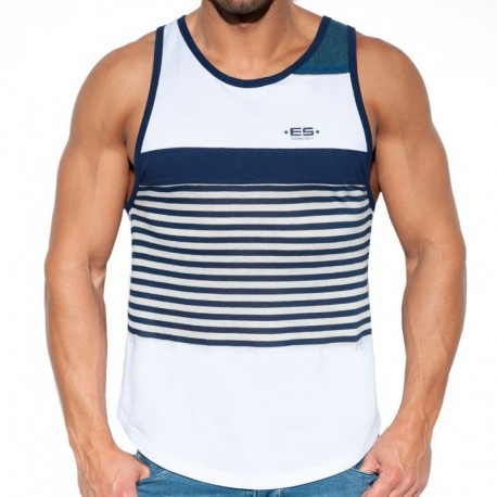 ES Collection Sailor Jeans Tank Top - White - Navy