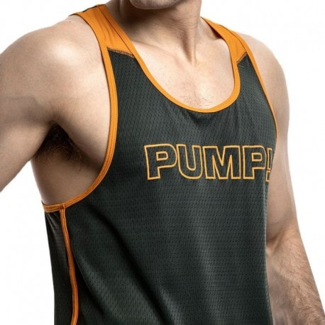 Pump! Squad Tank Top - Khaki - Orange