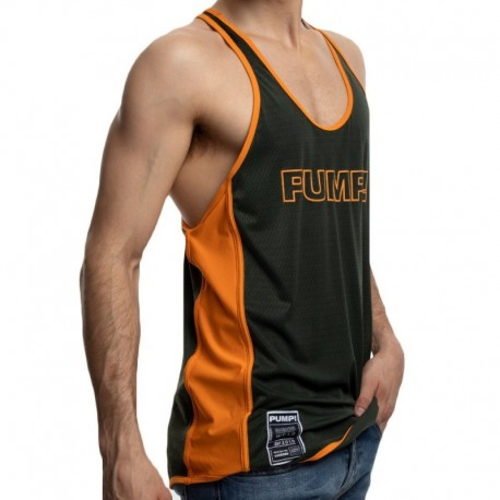 Pump! Squad Deep Tank Top - Khaki - Orange