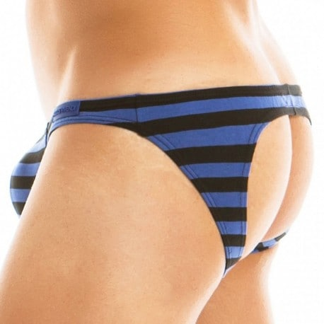 Modus Vivendi Slip Low Cut Empty Bottom Striped Bleu