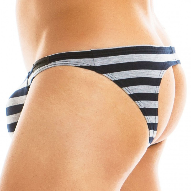 Modus Vivendi Slip Low Cut Empty Bottom Striped Gris