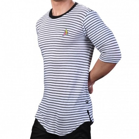 Andrew Christian Banana City Stripe T-Shirt - White - Grey