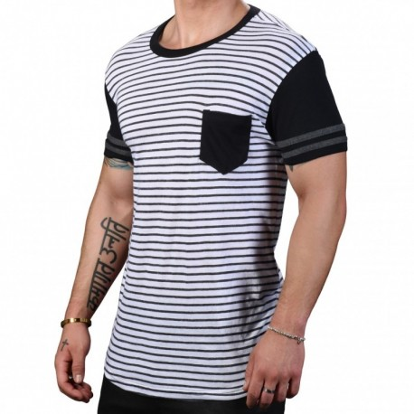Andrew Christian League Pocket Stripe T-Shirt - White - Grey