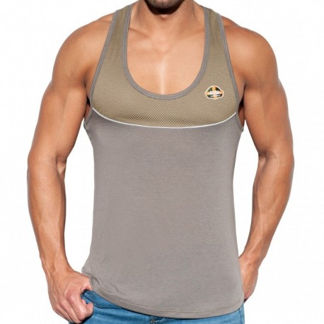 ES Collection Combi Mesh Tank Top - Khaki