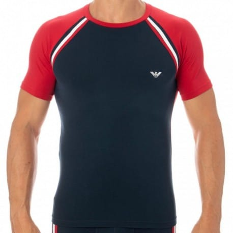 Emporio Armani T-Shirt Color Block Marine - Rouge