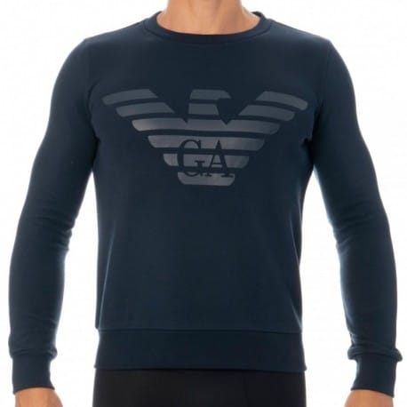 Emporio Armani Sweat-Shirt Terry Megalogo Marine
