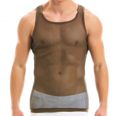 Modus Vivendi Camo C-Through Tank Top - Khaki