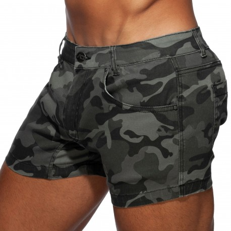 Addicted Camo Jeans Short - Grey