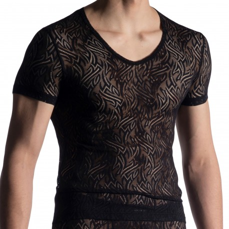 Manstore T-Shirt Low V-Neck M914 Noir