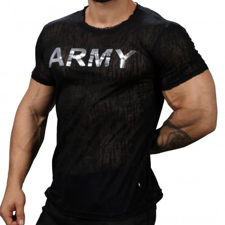 Andrew Christian Glam Army Burnout T-Shirt - Black