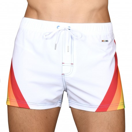 Andrew Christian Rocket Pride Rainbow Swim Short - White