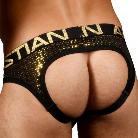 Andrew Christian Jock Strap Locker Room Almost Naked Nightlife Sparkle Noir - Or