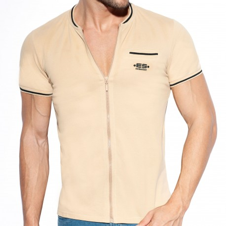 ES Collection T-Shirt Full Zip Mao Beige