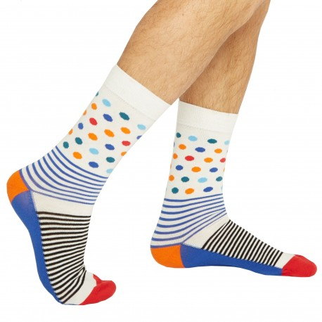 Jipépé Colour Dots Dress Socks - White