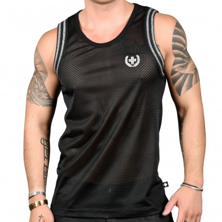 Andrew Christian Glam Laurel Cross Sports Mesh Tank Top - Black
