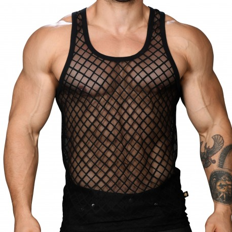 Andrew Christian Débardeur Lattice Lace Noir