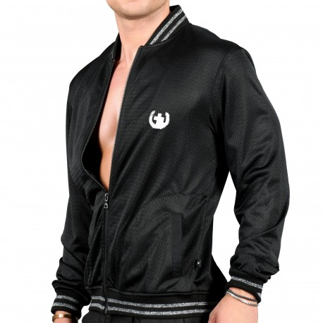 Andrew Christian Glam Laurel Cross Sports Mesh Jacket - Black