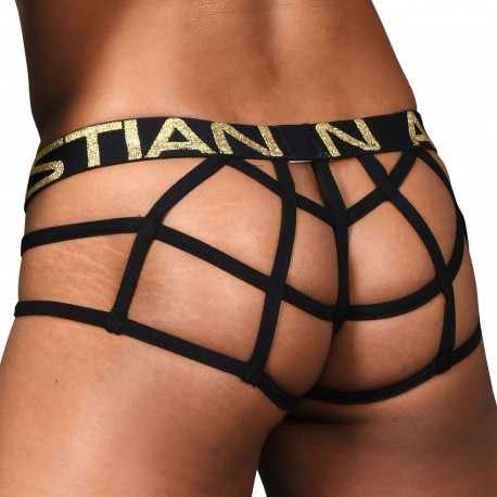 Andrew Christian Almost Naked Lattice Lace Web Thong - Black