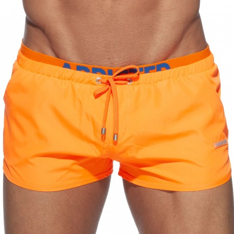 Addicted Double Waistband Swim Shorts - Orange