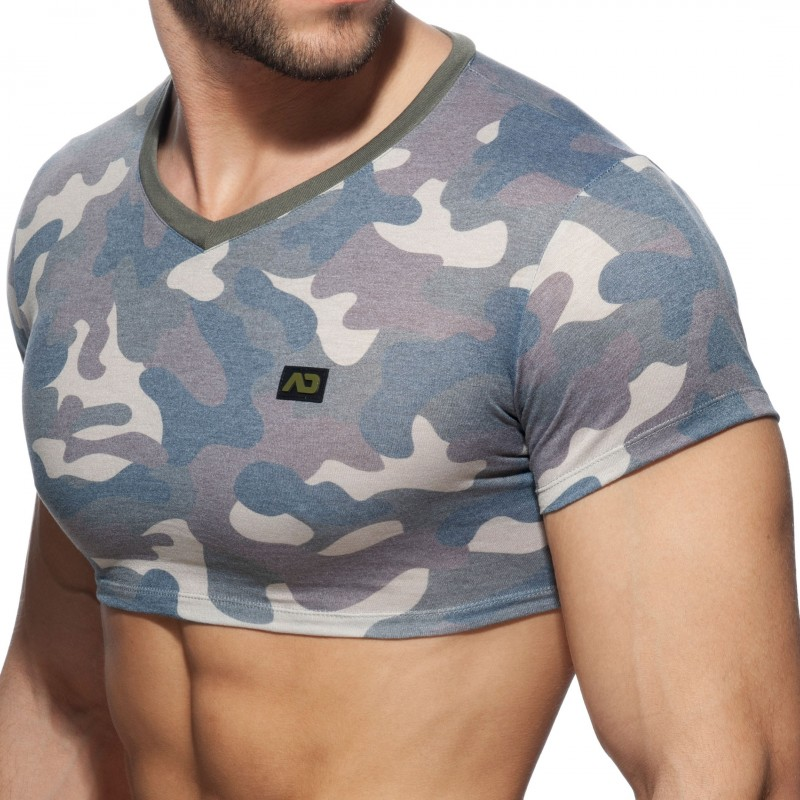 Addicted T-Shirt Crop Washed Camo Kaki