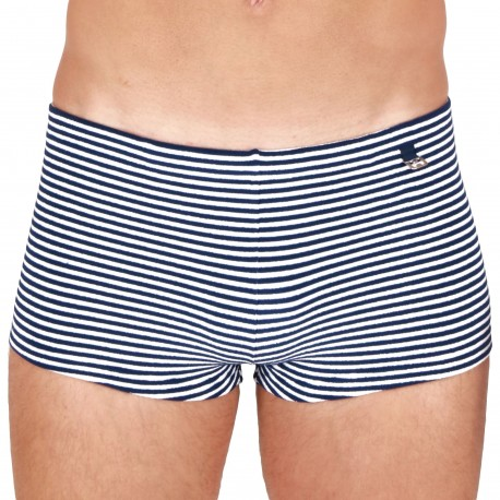 HOM Nautilus Striped Swim Trunks - Navy - White