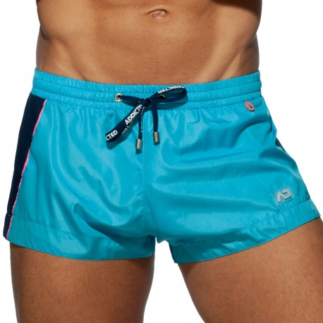 Addicted Racing Side Swim Shorts - Turquoise Blue
