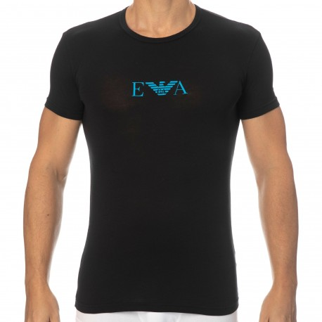 Emporio Armani Monogram Cotton Crew-Neck T-Shirt - Black