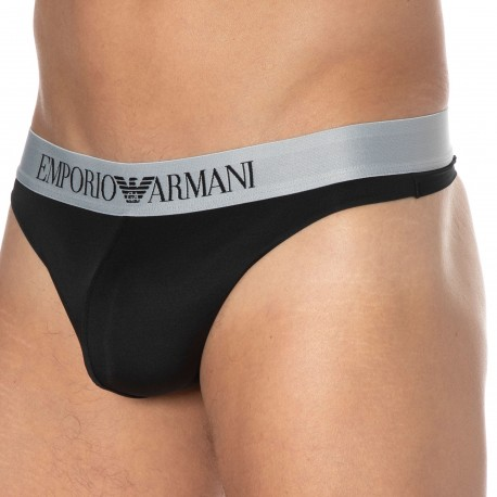 Emporio Armani Bonding Microfiber Thong - Black