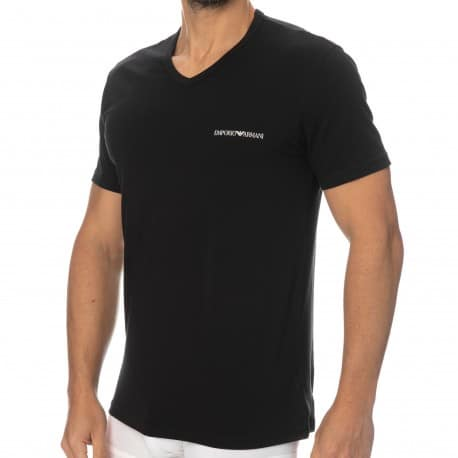 Emporio Armani Core Logoband Cotton V-Neck T-Shirt - Black