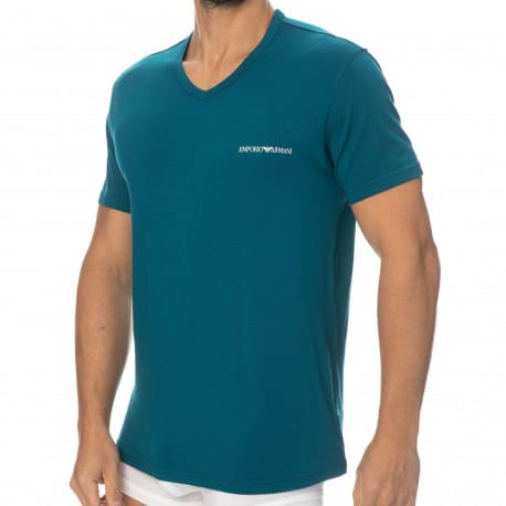 Emporio Armani Core Logoband Cotton V-Neck T-Shirt - Baltic Blue