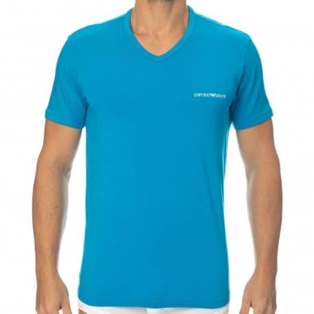 Emporio Armani Core Logoband Cotton V-Neck T-Shirt - Cerulean Blue