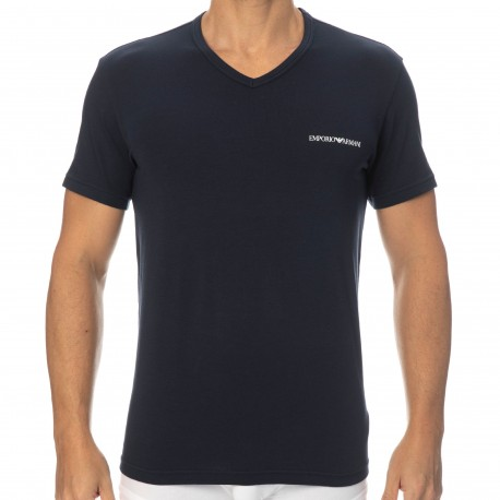 Emporio Armani Core Logoband Cotton V-Neck T-Shirt - Navy Blue